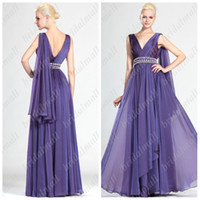 Reference Images V-Neck Chiffon Hot Sale Chiffon V-Neck Neckline A-Line Ruffle Beaded Floor-Length WE005 Evening Party Dresses Mother of the Bride Dresses