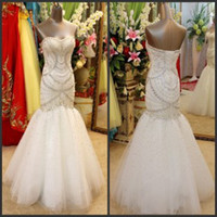 Wholesale Real Image Bridal Gown Tulle Sweetheart Luxury Church Mermaid Trumpet Wedding Dresses With Crystals Beading Pearls Accent In Bodice