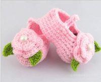 crochet yarn - Crochet baby snow booties first walker shoes loops design cotton yarn pairs M