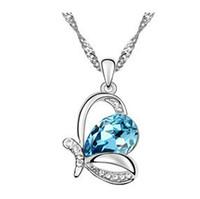 Joyería Collares 18k Moda cristal austriaco mariposa cristalina colgante barato de China Joyería Collares 12pcs