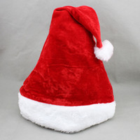 Wholesale Good Quality Dense Velvet Plush Hat Santa Claus Cap Soft Red Christmas Hat Christmas Costume Accessories For Adult KH0931
