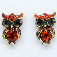 Wholesale Vintage Lovely The Owl Earrings Re Blue Crystal Rhinestone Stud earrings women earring jewelry Wedding gifts