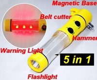 Home emergency car tool flashlight - 5 in Multifunction Car LED Flashlight Safety Hammer Escape Emergency Tool