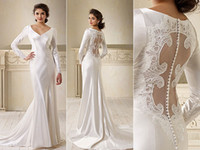 Wholesale On Sale Fashional Hot Sexy Long Sleeves Illusion Back Open Back Long Discount Bella Wedding Dresses Bridal Gown