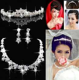 Wholesale Bridal Wedding Prom Three piece bridal jewelry necklace Earrings Imperial crown