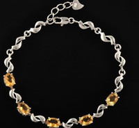 Bracelet 925 sterling silver yellow gemstone Chain bracelet Natural real citrine 925 sterling silver Fine yellow crystal gemstone Perfect Jewelry Free shipping #DH-13071508