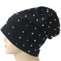 Wholesale Personalized Rivets Beanie Hat Korean Solid Color Cotton Skull Caps Windproof Bonnet Hats Fashion Beanie Hat For Men Women Color DT0901
