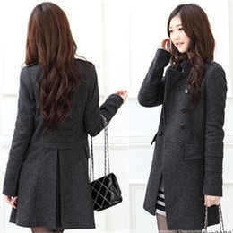Wholesale A329 Women New Fashion Women s Slim Wool Double breasted Coat Winter Coats plus large size Gray black L XL drop ship