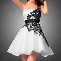 Wholesale Hot sale New Sexy Bridesmaid Dresses Ball Gowns One shoulder Mini Beaded White Black lace Beads Sash Organza Simple Sexy Party Dresses