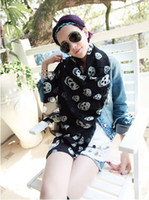 Wholesale Fashion Womens Spring Autumn Silk Scarf Korean Style Skull Head Printing Chiffon Scarves Wraps A0021