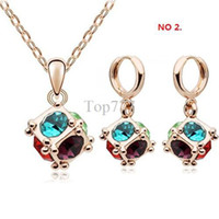 Women's Wedding Gold Wholesale fashion white gold plated crystal rhinestone necklace earring jewelry set make with swarovski element 1111s