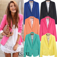 Jackets Women Cotton Blends A353 free shipping 2014 women new fashion European 6 colors plus big size candy color one button blazer suit autumn jacket coat drop ship