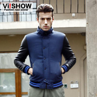 Wholesale Wool Mens Designer Clothing Leather Sleeve Royalblue Mens Jackets Single Breasted Conceal Zipper Tops Ribbed Cuffs and Hem Outwears FC070