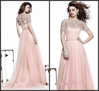 Jewel/Bateau Chiffon Sexy Hot sale Attractive Elegant Beads Bateau neck Sash Short Sleeves Lace Tulle A line Prom dress Evening dress party dress S1049