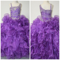 Wholesale Gorgeous Dazzeling Beaded One Shoulder Long Purple Girls Formal Pageant Dress Gowns By Little Rosie LR914