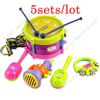 Wholesale 5 sets New Roll Drum Musical Instruments Band Kit Kids Children Toy Gift Set