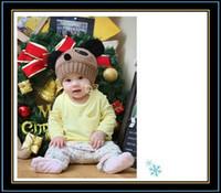 Unisex Winter knitting wool Cute Baby Crochet Hat Velvet Hat Wool Knitted Cap With Panda Ear Model For 4m-3y Baby Free Shipping CA