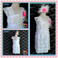 Wholesale ostrich feather lace dress cap sleeve ruffle flowr lace bby dress for party