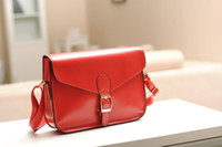 Cheap 1pcs Korea Style Envelope Single Shoulder Bag Red PU Leather Satchel #23375