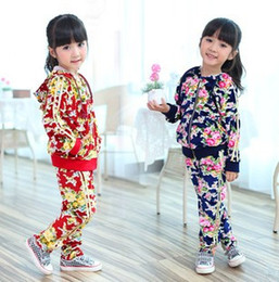 Wholesale 2 Girl s Floral Printing Hoodie Training Set Hoodie T shirt Trousers Sets T9114