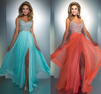 Wholesale 2014 New Sexy Cheap Spaghetti Straps Chiffon Long Prom Dress Rhinestones Ruffles Beaded Summer Beach Formal Evening Gowns a