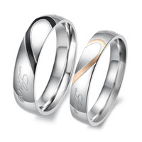 Wholesale S5Q New Heart Shape Matching Titanium Steel Lovers Promise Ring Couple Wedding Bands AAAAZV