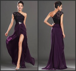 Free shipping 2019 Chic Long Chiffon Purple dress Black Lace Prom Dresses Formal Evening dresses With Beacded Runway Dresses for Woman