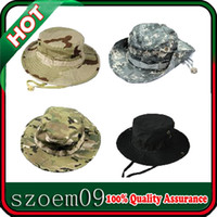 Wholesale Wide Brim Fishing Hiking Snap Brim Camo Ripstop Army Combat Bucket Bush Jungle Sun Military Boonie Cap Hat