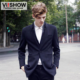Wholesale Black Mens Trench Coats Double Layers Collar with Front Pocket Wool Coats One Button Placket Curved Hem Mens Outwears Back Slit Dress NY003