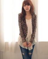 Women Cotton Waist_Length Hot Sexy Women Attractive Brown Leopard Print Double Breast Shrug Jacket Tops