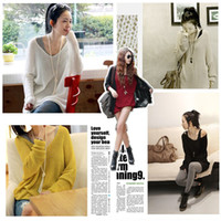 Women Cotton V_Neck New Sexy V Neck Oversized Batwing Slouchy Knitted Top Jumper Loose Sweater