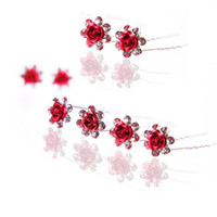 Silk Flower best silk hair flowers - Best Red Headdress Flower Diamond Jewelry Girls Bridal Accessories Hair Barrettes KH504