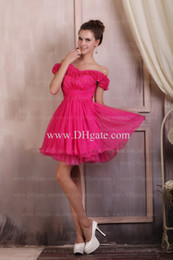Wholesale Hot Pink Off Shoulder Ruffles Homecoming Dresses Cocktail Dresses Ruched Graduation Gowns Graduation Gowns Organza Ball Gowns
