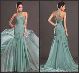 Free shipping 2014 Chic long chiffon one-shoulder sleeveless mermaid Prom Dresses 2913 Formal Evening dresses for Woman