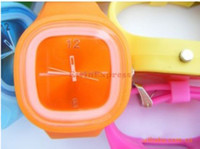 Unisex watch silicon gel - 2015 new hot sale hagh quality Anion Silicon Gel Unisex Fashion Sports Candy Wrist Watch with Ten Color