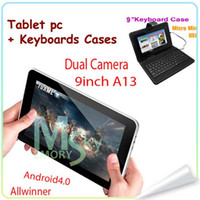 Wholesale Android inch A13 Dual Camera ALLwinner tablet PC M G WIFI Capacitive screen GHZ with keyboard case