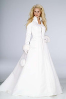 Wholesale Winter Wedding Dress Accessories Bridal Cloak Jaket Shawl Cape White Satin With Faux Fur Long Sleeves Chapel Train Custom Made High Neck Hot