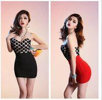 Linen Street Style  2015 Drop Ship Stylish Dot women's dress slim evening dresses party skirts Sexy goddess nightclub #721