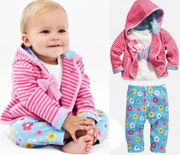 5 Sets Baby Girl Autumn Winter Cotton Pink Striped Hooded Coat + Long Sleeve White T-shirt + Blue Flower Pants Children's Outfits Suits