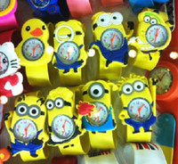 Gift Watch aliens watch - Christmas Gift Hot Yellow Robot Aliens Gru Mixture Character Kids Boys Silicone Slap Watches Rubber Band Snap Bracelet Wristwatch New