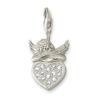 Unisex Gift Pendants Free Shipping wholesale silver charm pendant.Nice FLY BABY ON THE HEART charm.silver charms.Good quality.