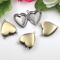Party prayer box charm - 50pcs Charms Necklace Pendants Heart Prayer Box Photo Locket Studded