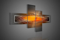 More Panel Oil Painting Abstract Hand-painted Hi-Q modern wall art home decorative abstract oil painting on canvas Bouncing line orange 4pcs set framed