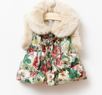 Wholesale Baby girls winter thicken faux fur waistcoats print rosette floral waistcoat kids girl fashion jackets in sizes