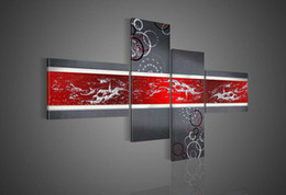 Wholesale Hand painted Hi Q modern wall art home decorative abstract oil painting on canvas Grey round texture on red set framed