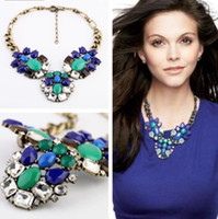 Wholesale Peacock collar necklace vintage jewelry women short crystal flower necklace blue green stones high quality jewelry gift