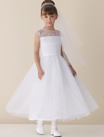 Wholesale White Holy Girl Wedding First Communion Sheer Flower Formal Party Dress Flower Girl Dress