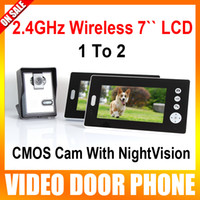 Wholesale 2 GHz Wireless Video Door Phone Audio Visual Intercom Monitors with CMOS Camera Support NightVision