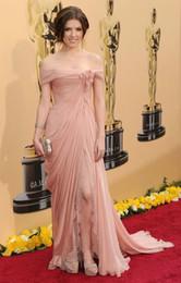 High quality A Line Cap Sleeve Floor Length Light Pink Chiffon Prom Dresses High Split Celebrity Dresses Lace Evening Dresses Flowers Pleat