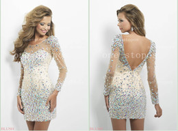 Wholesale 2014 New Arrival Sexy Prom Dresses Jewel Neck Illusion Frong Long Sleeves Glitz Crystal Beaded Sheath Champagne Short Cocktail Gown C128